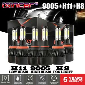Combo H11 9005 Hi Lo Beam H8 Fog Led Headlight Bulbs Kit 6000k For Chevrolet