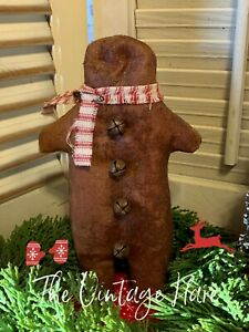 New Primitive Gingerbread Man Ornie Pillow Tuck Grungy Cinnamon Vintage Hare