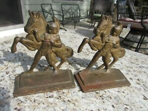 Antique 1920 S Cast Iron Arts And Crafts Mission Style Roman Soldier Book Ends