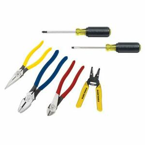 Tool Set With 3 Pliers Wire Stripper And Cutter 2 Screwdrivers 6 Piece Klein