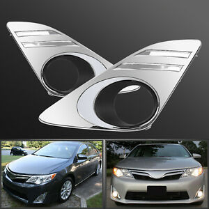 Pair Of Front Fog Chrome Lamps Covers Trim Rh Lh For 2012 2013 2014 Toyota Camry