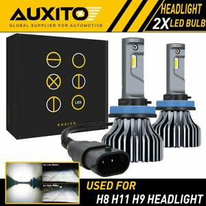 2x Auxito H11 H8 Led Headlight 9000lm Hid White Light Kit Low Beam Bulb 6000k Ea