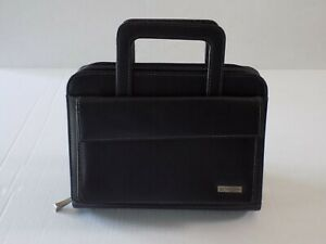 Franklin Covey Black Faux Leather Classic 7 ring Planner Retractable Handles