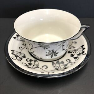 Vintage Verbano Laveno Italy Silver Overlay Porcelain Tea Cup And Saucer Floral