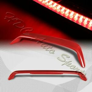 For 2001 2005 Honda Civic Coupe Painted Red Rear Trunk Spoiler Wing Led Brake