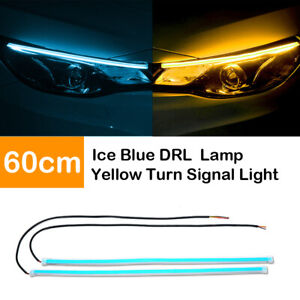 2x White 45cm Car Flexible Tube Led Strip Daytime Runnning Drl Light Headlight