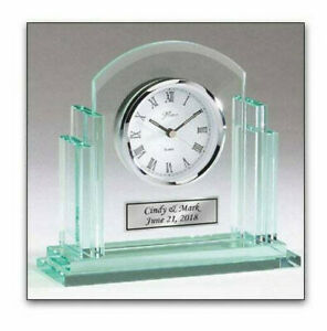 Glass Desk Silver Basel Clock With Clear Jade Body Engraving Plate Gifts Awards