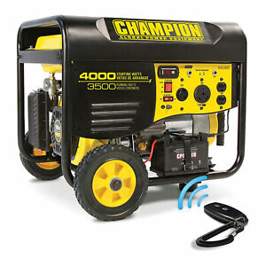 Champion Portable Wheeled Wireless Start Gas 3500 Watt Generator for Parts