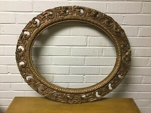 Antique Vtg Oval Ornate Wood Frame Barbola Gesso Painted Gold Beauty Unusual