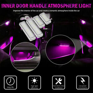 Us Pink Car Door Bowl Handle Led Ambient Atmosphere Light Interior Accessories
