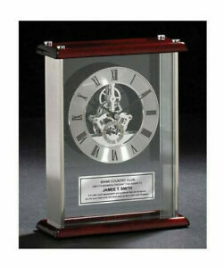 Desk Clock Da Vinci Gear Encased Glass Chrome With Wood Cherry Top And Base Gift