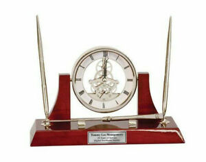 Clock Dual Pen Set Da Vinci Dial Silver Letter Opening And Engraving Plate Gift
