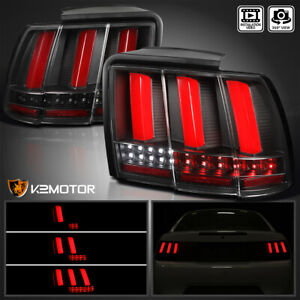 For 1999 2004 Ford Mustang Black Sequential Red Led Tube Tail Lights Brake Lamps