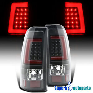 For 2003 2006 Chevy Silverado 2500 Led Red Tube Brake Lamp Tail Lights Black