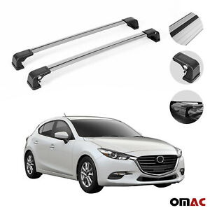 Roof Rack Cross Bars Cross Rail Lockable Aluminum Silver For Mazda 3 2014 2018