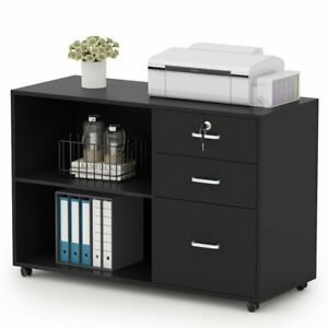 Tribesigns 3 Drawers Wood File Cabinet Modern Home Office Lateral Mobile Cabinet