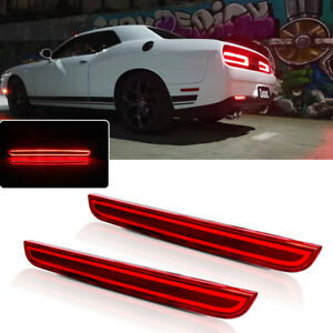 For 2015 2019 Dodge Challenger Red Rear Bumper Fog Lamp Tail Brake Led