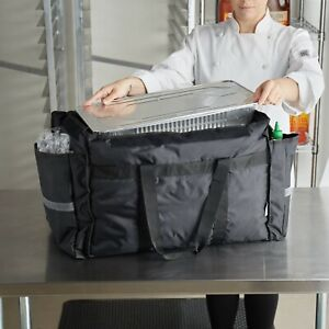 Servit Heavy duty Insulated Black Nylon Soft sided Food Delivery Bag Pan Carrier