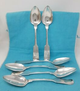Set Of Six Coin Silver Table Spoons Stebbins Co 8 5 8 Ca 1835