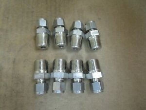 Swagelok Stainless S s Male Connector 1 2 Male Npt X 3 8 Tube Od Lot Of 8 New