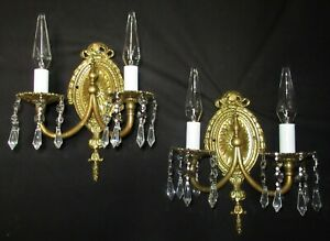 2 Vtg French Cast Brass Crystal Sconces Chandelier Rewired Wall Fixture 1930 S