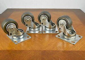 Four All Metal Stainless Steel 3 Industrial Ball Bearing Swivel Plate Casters
