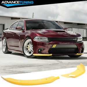 Fits 15 19 Dodge Charger Srt Scat Pack Front Bumper Lip Splitter Protector Pair
