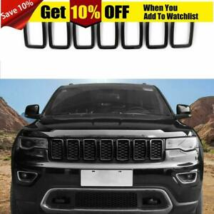 Black Front Grille Rings Grill Inserts Cover For Jeep Grand Cherokee 2017 2019
