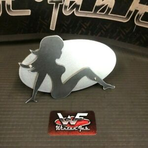Trucker Girl Two Layer Hitch Cover 1 8 Steel Custom Truck Mudflap Funny