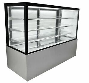 Refrigerated Glass Sided Bakery Cake Display Case Floor Standing 72 Wide