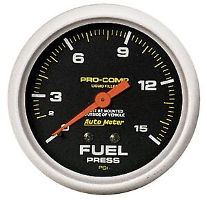 Auto Meter 5411 Pro comp Fuel Pressure Gauge 2 5 8 Full Sweep Liquid Filled