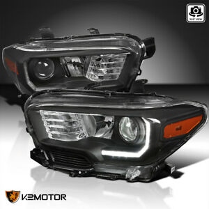For 2016 2018 Toyota Tacoma Projector Headlights Black Lamps W Led Drl Strip