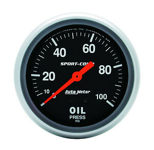 Autometer 3421 Sport comp 2 5 8 Mechanical Oil Pressure Gauge 0 100 Psi