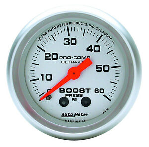 Auto Meter Ultra Lite Mechanical Boost Pressure Gauge 0 60 Psi 2 1 16 52mm