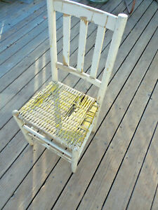 1900s Antique Wood Wicker Side Chair White Yellow Farmhouse Chippy Paint Old