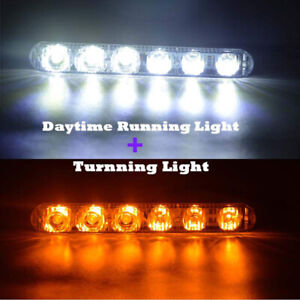 2x 6 Led Daytime Running Lights Drl Car Fog Day Driving Lamps White yellow 12v