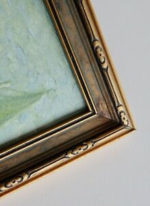Antique Gold Detailed Carved Wood Picture Frame Glass 15 X12 Deco Nouveau