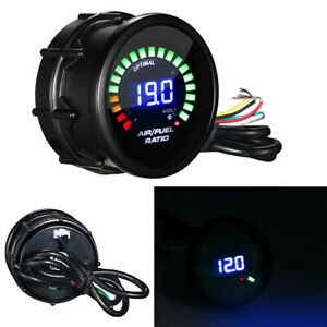 2 52mm Blue Digital Led Meter Black Face Monitor Analog Air Fuel Ratio Gauge