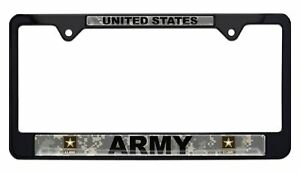 United States Army Camo Black License Plate Frame