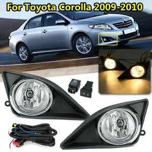 W Switch Bulbs Wiring Kit For 2009 2010 Toyota Corolla Black Fog Lights Pair