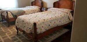 Antique Twin Bed French Vintage In Solid Walnut Limited Edition