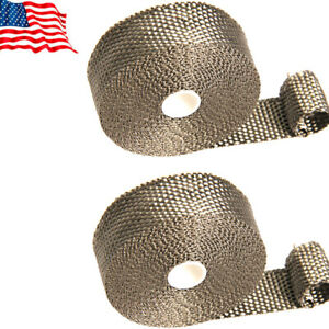 Titanium Exhaust Header Manifold Heat Wrap 1in 35ft With 6 Stainless Ties Kit 2