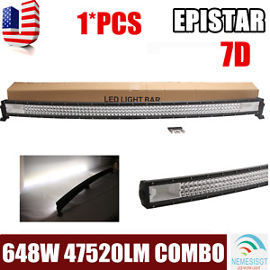 Curved 50inch 648w Tri row Combo Led Light Bar Slim Offroad Suv Atv Ute Pk 48 52