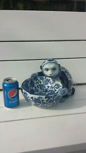 Antique Rare Chinese Blue And White Porcelain Monkey With Bowl