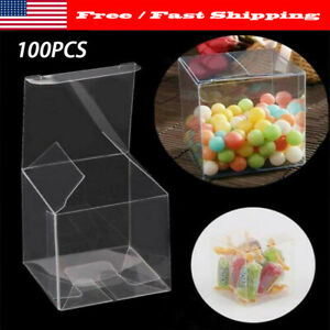 100 Pcs Square Clear Pvc Plastic Candy Party Wedding Favor Xmas Gift Boxes