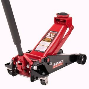 Black red Fast Lift Service Heavy Vehicles Floor Jack Steel Tool 3 5ton Capacity