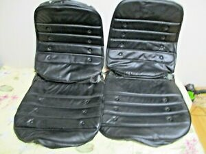 Oem Pair 1972 Oldsmobile Cutlass S 442 Black Bucket Seat Covers Pleated Buttons