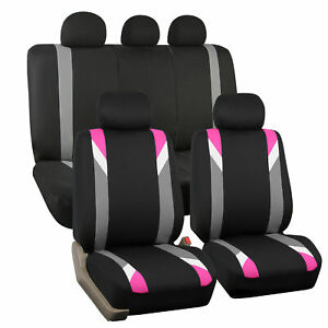 Car Seat Cover Set For Auto Sporty Pink W 5 Headrests