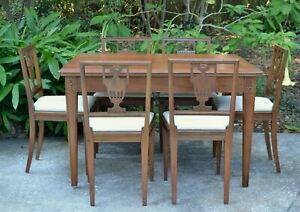 Antique Teak Dining Set Draw Leaf Table 6 Chairs Hand Carved San Francisco C1930