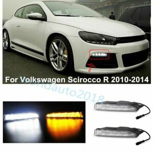 For Vw Scirocco R 2010 2013 Drl Led Daytime Running Light Fog Lamp W Turn Signal